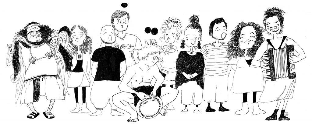 Cartoon-Illustration mehrerer musizierender Menschen